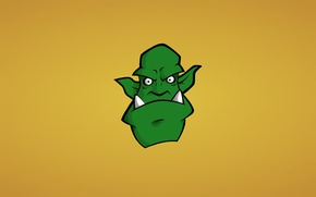 Wallpaper face, green, monster, minimalism, head, fangs, Orc, orc