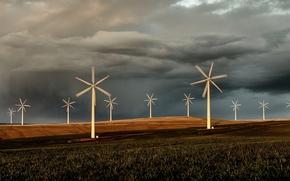 Picture clouds, Field, windmills