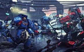 Picture armor, orcs, warhammer 40k, bolter, space Marines, terminators, Ultramarines, Ultramarines vs Orcs