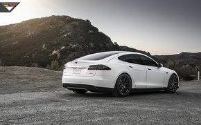 Picture sunset, mountains, Tesla, model S