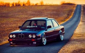 Picture BMW, Car, Front, Black, Sun, E30, Stance, Dapper, Ligth, Beam