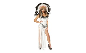 Picture look, girl, feathers, brunette, headdress