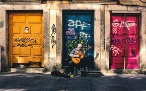 Picture guitar, musician, doors