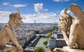 Picture the city, Gothic, view, scene, panorama, architecture, France, Notre Dame de Paris, Notre Dame de …