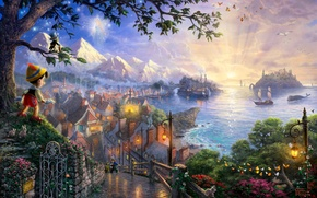Picture sea, trees, butterfly, sunset, flowers, mountains, birds, bridge, castle, tale, ships, the evening, art, lights, …