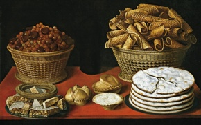 Picture picture, still life, cakes, Thomas HEPES, Sweets and Nuts on the Table
