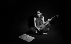 Picture girl, notes, music, guitar