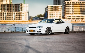 Picture Nissan, white, GT-R, skyline, R34