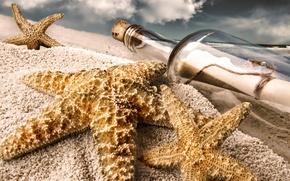 Wallpaper stars, bottle, beach, note, sand
