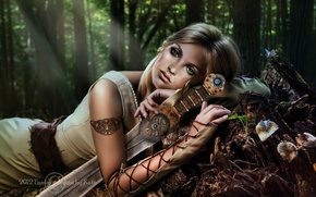 Picture forest, look, girl, trees, weapons, fiction, hair, sword, hands, green eyes