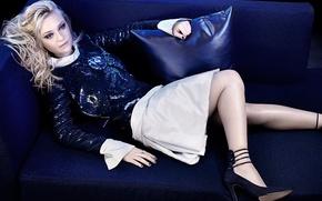 Picture blue, pose, sofa, skirt, pillow, makeup, figure, actress, hairstyle, blonde, shoes, lies, jacket, photoshoot, Dakota …