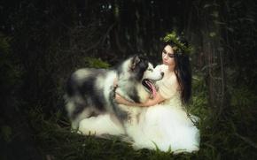 Wallpaper background, girl, dog