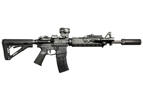 Picture weapons, background, flashlight, carabiner, assault rifle
