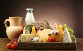 Picture cheese, milk, grapes, pitcher, tomatoes, garlic, star anise
