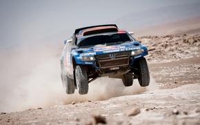 Picture Blue, Dust, Volkswagen, Desert, Red Bull, Touareg, Rally, Dakar, Dakar, In the air, Flies