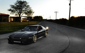 Picture the sun, street, tuning, Toyota, black, Blik, Supra, Toyota, supra, the front part, MA61