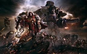 Wallpaper Relic Entertainment, Minigun, Equipment, Mech, Warhammer, Minigun, Warhammer 40 000: Dawn of War III, Sega, ...