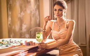 Picture sexy, dress, woman, chips, casino