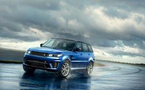 Picture photo, blue, Land Rover, Range Rover, car, 2015, Sport SVR