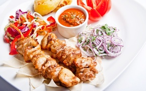 Picture bow, meat, pepper, vegetables, tomato, sauce, kebab, salad, meat, pepper, vegetables, tomato, sauce, skewers
