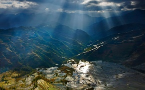 Picture rays, mountains, China, terrace, rice fields, Yuanyang County