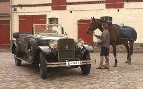 Picture retro, background, Audi, horse, Audi, men, the front, 1929, Imperator