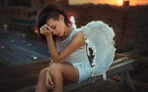 Picture roof, girl, sunset, the city, wings, angel, Moscow, Alia Lando