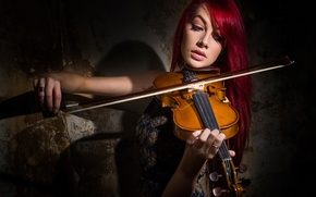 Picture girl, violin, the game, Violin