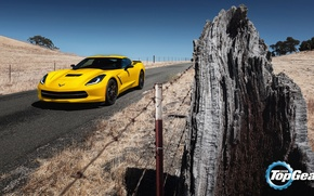 Picture road, yellow, Corvette, Chevrolet, Chevrolet, Top Gear, Coupe, the front, the best TV show, top …