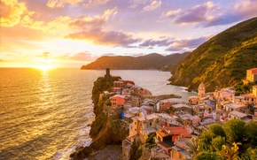 Picture sea, sunset, mountains, coast, home, beauty, Italy, sea, Italy, coast, sunset, mountains, beauty, houses, Vernazza, …