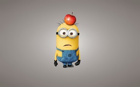 Picture look, yellow, Apple, light background, Minion, Despicable Me 2, Despicable me 2, mignon