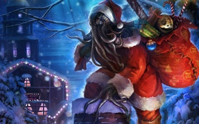 Picture Cthulhu, Roof, Santa Claus, Cthulhu Santa Claus, Grandfather Of Cthulhu, Happy Holidays from Funcom