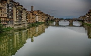 Picture reflection, building, home, Italy, Florence, river, Italy, bridge, Florence, Italia, canal, the Arno river, the …
