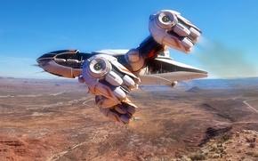 Picture flight, spaceship, planet