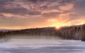 Wallpaper winter, forest, the sky, the sun, clouds, snow, trees, sunset, orange, fog, river, tree, The ...