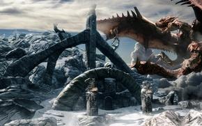 Picture Wallpaper, dragon, the game, peak, skyrim, Skyrim