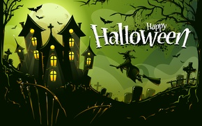 Picture trees, birds, castle, holiday, cemetery, Halloween, Baba Yaga