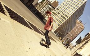 Picture creative, street, distortion, tilt, scream, guy, skate, romain laurent, novel Lauren, the sidewalk