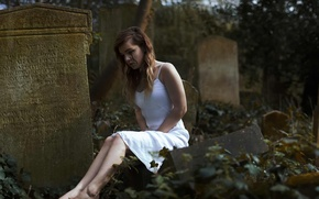 Picture girl, art, cemetery, tear, mount, tombstone