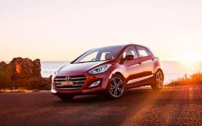 Picture sunset, Hyundai, i30, Hyundai
