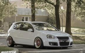 Picture white, volkswagen, Golf, golf, tuning, Volkswagen, gti, bbs