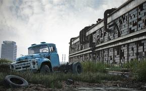 Picture machine, the building, truck, ZIL, Zavod imeni Likhacheva