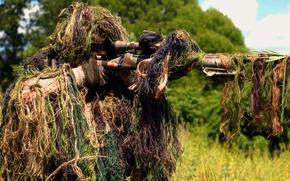 Wallpaper rifle, sniper, shooting, soldiers, optics, vskidku, grass, sight, forest, camouflage
