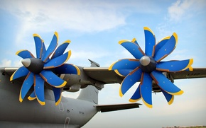 Wallpaper turboprop, The an-70, the plane, Aviation, blue, screw