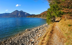 Picture forest, the sky, trees, mountains, lake, stones, shore, Bayern, Germany, path