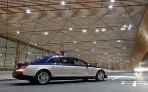 Wallpaper luxury, light, the building, limousine, Auto, Maybach, Maybach 62, exclusive, night, Suite, blue, two-tone