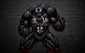 Picture language, the dark background, wall, monster, comic, toothy, Spider-Man, Venom, Venom, Symbiote