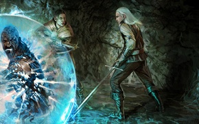 Picture magic, sword, art, the witcher, cave, the Witcher, men, the sorcerer, crossbow
