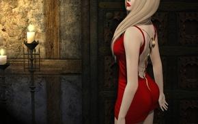 Wallpaper girl, background, dress, lipstick, in red