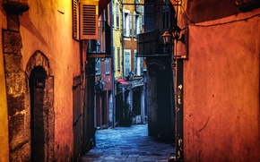 Picture light, France, evening, street, houses, Grasse